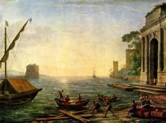 Seehafen beim Aufgang der Sonne